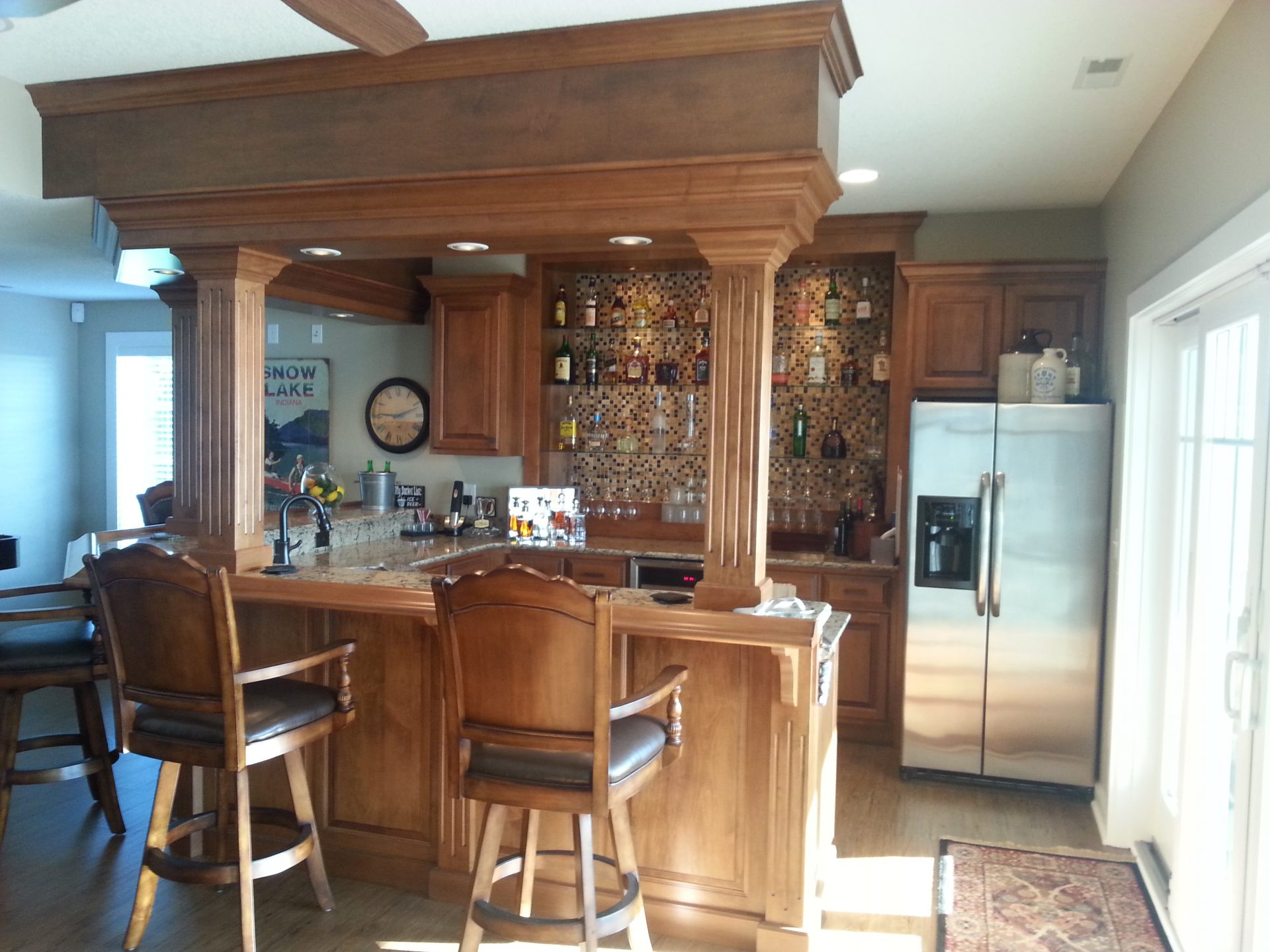 Bar area in lake home
