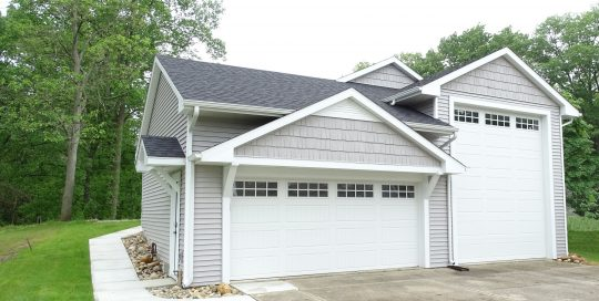 Front of new garage in northern Indiana